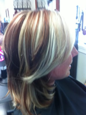 Blonde and Red Highlights and Lowlights | Yelp