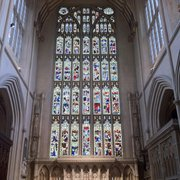Stained glass at Bath Abbey.
