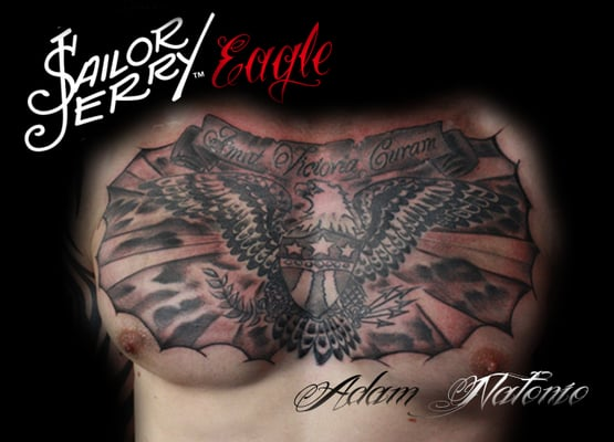 Sailor jerry esque old school chest piece yelp for Chest mural tattoos