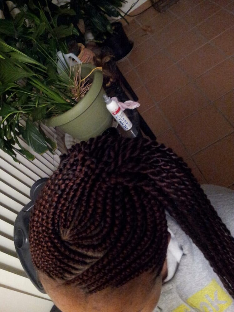 Ghana Single Braids With Corn Rows Black Hairstyle and Haircuts