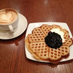 Norwegian waffles with sour cream and blueberry jam