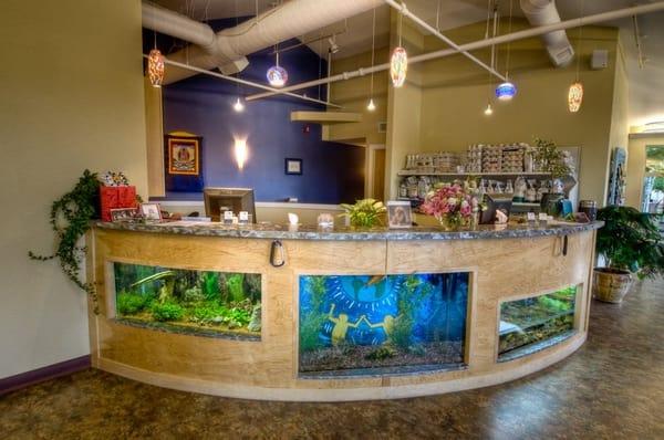 Fish tanks in reception desk at veterinarian 39 s hospital yelp for Fish tank desk