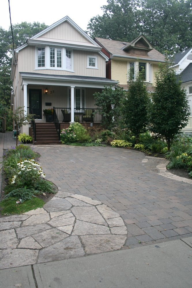 Front Yard Parking Pad - Random Flagstone U0026 Tumbled Interlocking Pavers Planting | Yelp