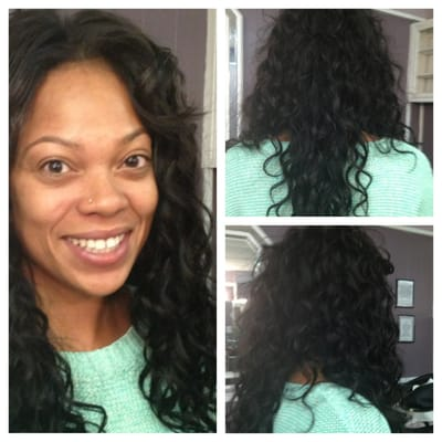 full sew in weave w a lil hair left out at the top short