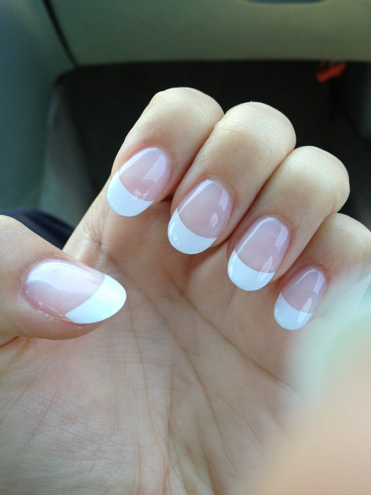 Gel French tip, round nails .. Love it! Thank you Vicky ...
