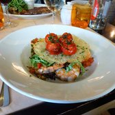 The most delicious grilled prawns, arugula, white and brown rice, roasted cherry tomatoes and parmesan crisp. Heavenly.