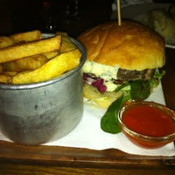 Lamb burger with chips and harissa sauce (£13.50)