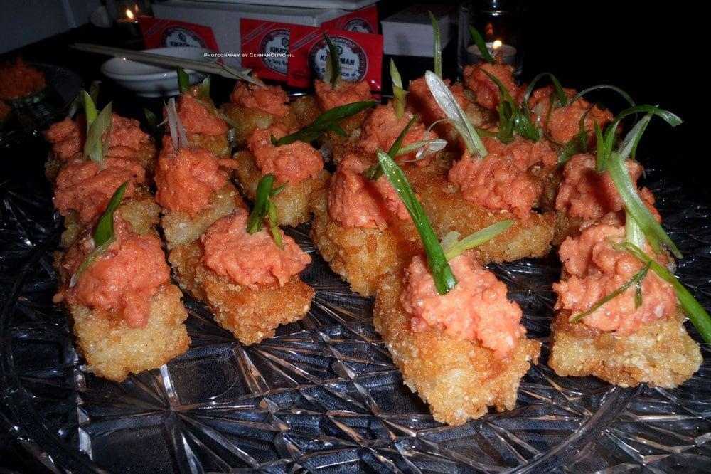 Spicy tuna over fried sushi rice. | Yelp