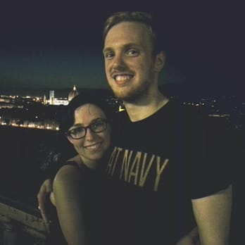 My girlfriend and I in the likely traditional photo over Florence.