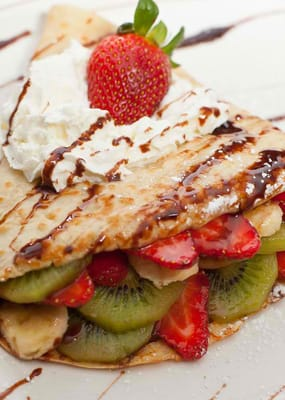 Open-faced Strawberry Banana Added Kiwi Dessert Crepe | Yelp