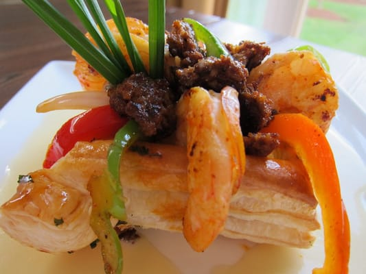 Chorizo Shrimp Puff Pastry With Red Onions Sweet Bell