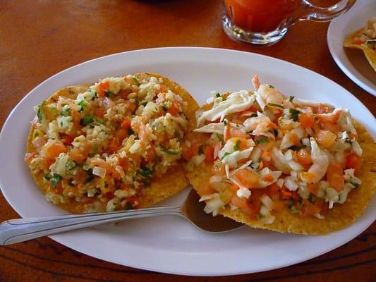 Ceviche tostada and a shrimp & crab tostada | Yelp