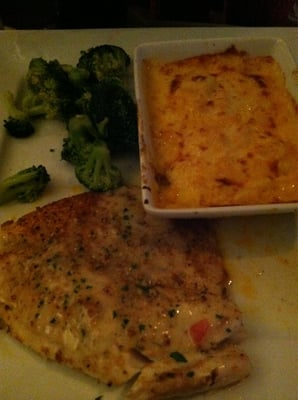 herbed crusted tilapia with baked mac n cheese and steamed broccolo ...