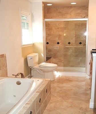 porcelain bathroom design (shower & floor) with inserts | yelp