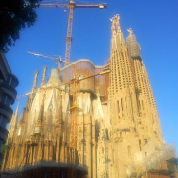 Sagrada Família's roof under construction.