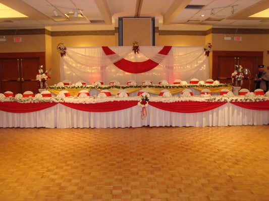 Wedding hall decoration, wedding reception backdrop, head table