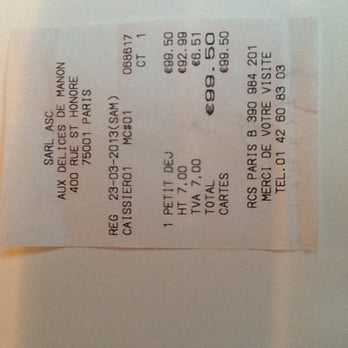 My itemized bill for petit dejeuner for 4.