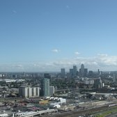 View of the Canary Wharf skyline and the O2 and Emirate Skyline cable car from The Orbit