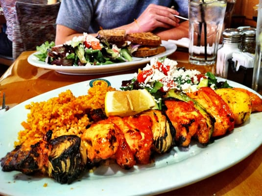 Charbroiled Chicken Shish Kabob - with Bulgar wheat pilaf, skewered ...