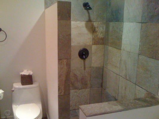 Shower for the home pinterest open showers showers and small bathrooms - Open shower bathroom design ...