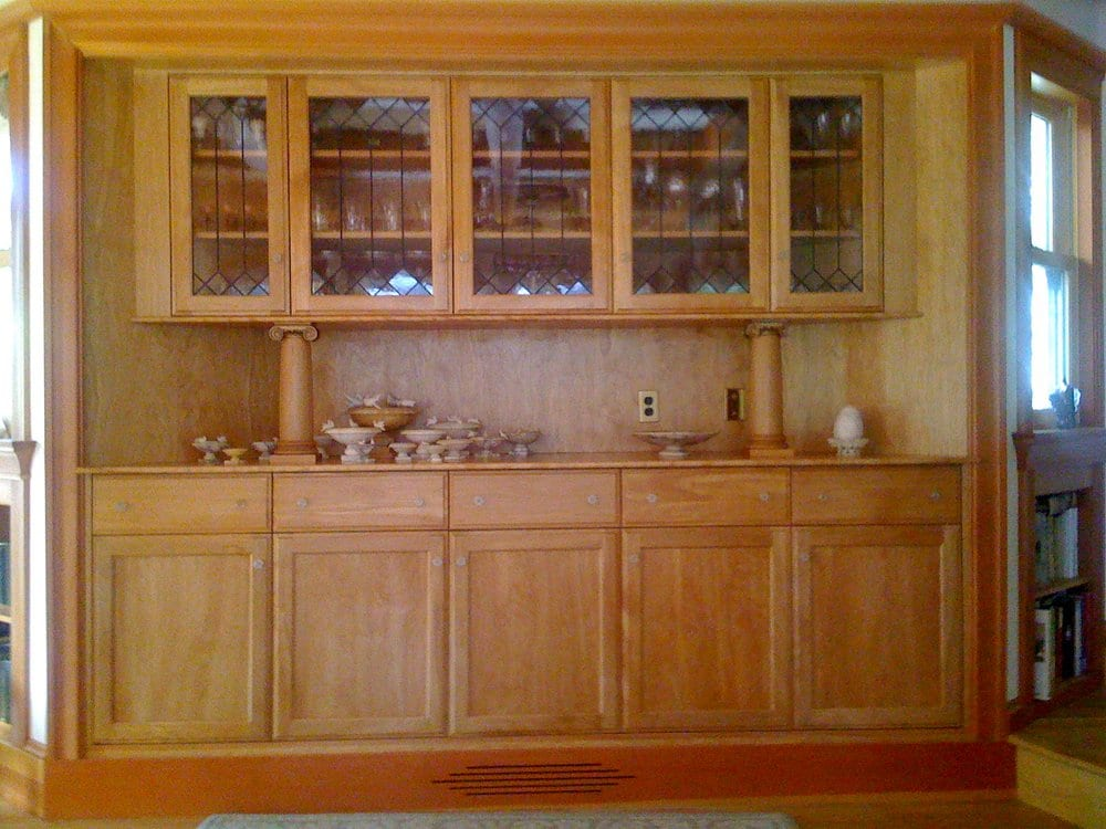 Red birch built in cabinets in piedmont ca leaded windows for Birch vs maple kitchen cabinets