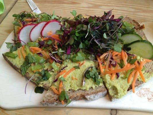 Vegan tartine - spring pea hummus, carrots, radishes, mint, cucumbers ...