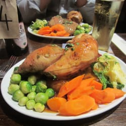 MASSIVE roast dinner... they gave me half a chicken to myself!!