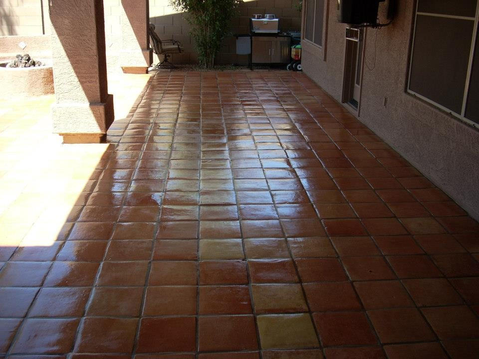 Outdoor Saltillo Tile Patio After Stripping Cleaning And Sealing