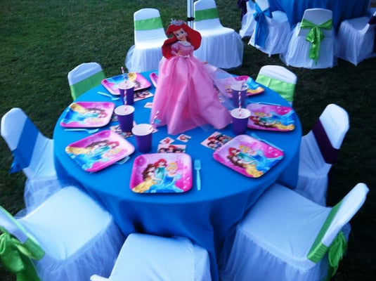 Ariel little mermaid princess theme birthday party table for Ariel decoration