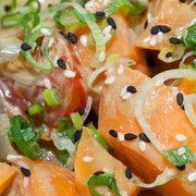 Seared Salmon Sashimi with Mixed Salad and Shallot Dressing