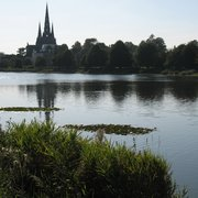 Lichfield Cathedral towering over the skyline, from Stowe Pool