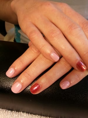 """Orly Gel FX """"Lift The Veil"""" w/ Gelish """"Sizzling Summer Nights"""" accent"""