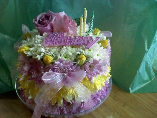 Birthday cake made of flowers  Yelp