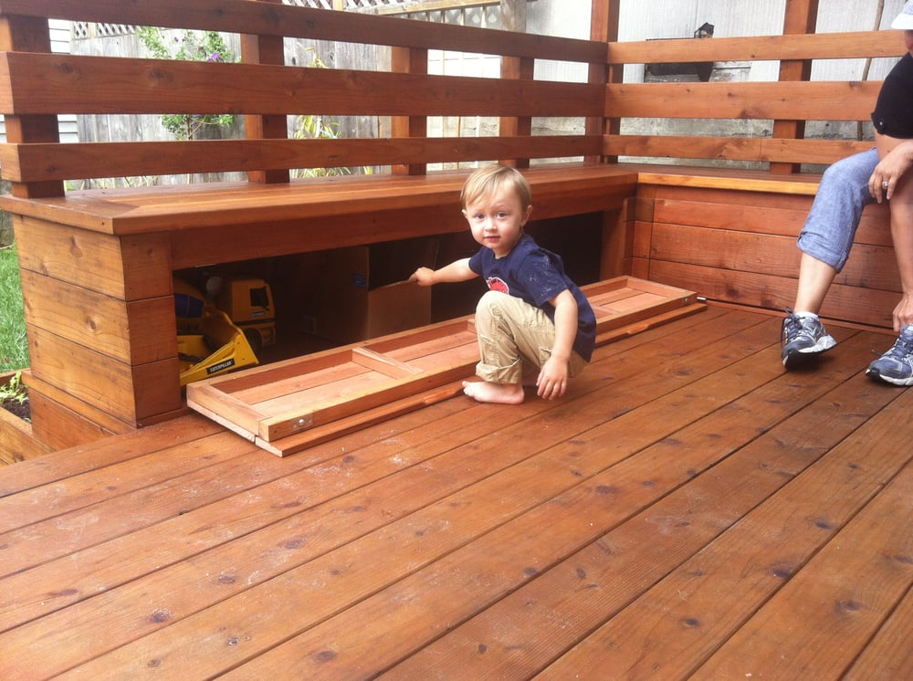 How To Storage Deck Bench Pictures to pin on Pinterest