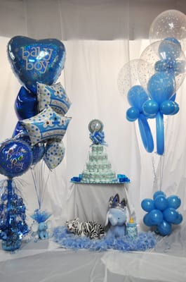 "It's a boy"" baby shower decorations. 