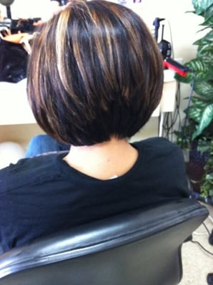 line bob haircut and highlights by Dianna | Yelp