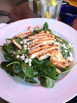 ... spinach salad with grilled chicken, apples, walnuts, and blue cheese