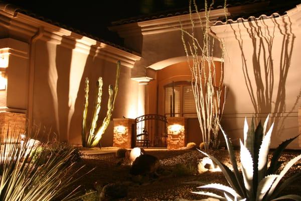 Scottsdale arizona desert frontyard landscaping with for Landscape lighting packages