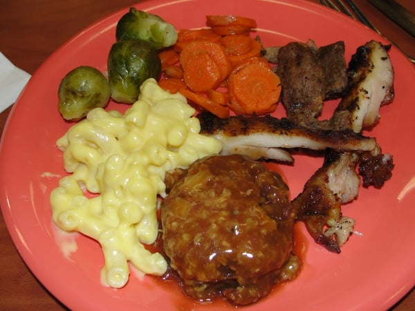 ... steak, mac and cheese, brussel sprouts, carrots and fajita meat | Yelp