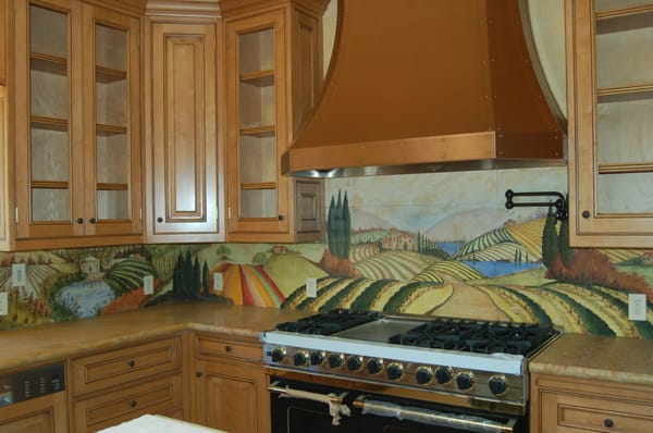 kitchen counter with hand painted tile backsplash yelp
