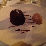 "Chocolate ""Fondant"" with ice cream."