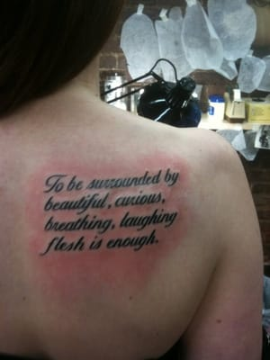 tattoo by Mike Lucena, words by Walt Whitman | Yelp
