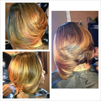 Partial sew-in bob with Indie Remy