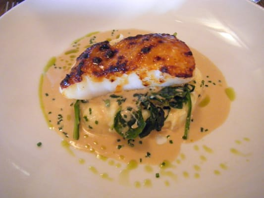 maple-miso glazed sea bass, wasabi mashed potatoes, baby spinach ...