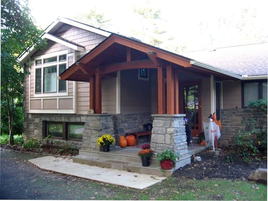 Renovated split level house and entry to craftsman style for Craftsman style split level homes