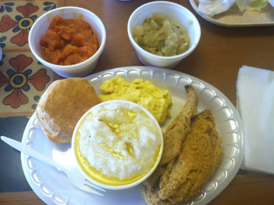 Fish grits comes w biscuit eggs cabbage yams for Fish and grits near me