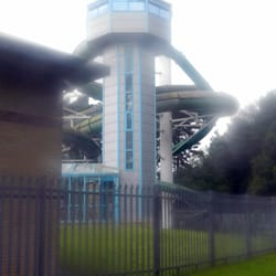 The flume tower at the back of the building