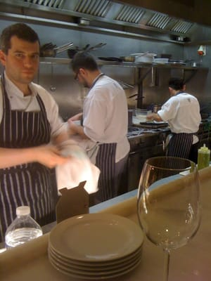 Jacob Kennedy (on the left) hard at work in the open plan kitchen