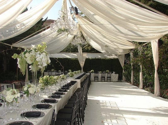 Tent Draping Black Chiavari Chair Charger Plate Linen Pipe