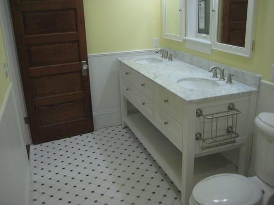 Bathroom remodel double sink vanity with marble top yelp for Bathroom remodel yelp